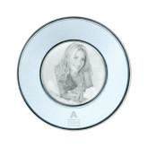 Silver Two Tone Small Round Photo Frame-Primary Logo Engraved