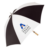 62 Inch Black/White Umbrella-Primary Logo