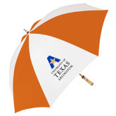 62 Inch Orange/White Umbrella-Primary Logo