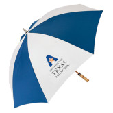 62 Inch Royal/White Umbrella-Primary Logo