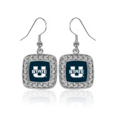 Crystal Studded Square Pendant Silver Dangle Earrings-Primary Mark Athletics