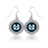 Crystal Studded Round Pendant Silver Dangle Earrings-Primary Mark Athletics