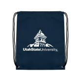 Navy Drawstring Backpack-University Mark Stacked