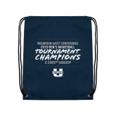Navy Drawstring Backpack-2019 Mens Basketball Champions - Court