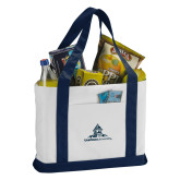 Contender White/Navy Canvas Tote-University Mark Stacked