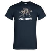 Navy T Shirt-Utah State Stacked w/  Mascot