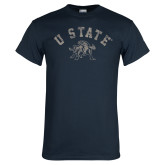 Navy T Shirt-U State Arched