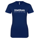 Next Level Ladies SoftStyle Junior Fitted Navy Tee-University Wordmark