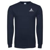 Navy Long Sleeve T Shirt-University Mark Stacked