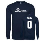 Navy Long Sleeve T Shirt-University Mark Horizontal, Custom tee w/ name and #