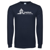 Navy Long Sleeve T Shirt-University Mark Horizontal