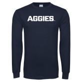 Navy Long Sleeve T Shirt-Wordmark Athletics