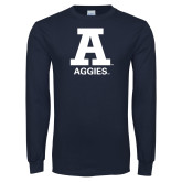Navy Long Sleeve T Shirt-A Aggies