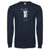 Navy Long Sleeve T Shirt-Big Blue Football