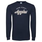Navy Long Sleeve T Shirt-Script Distressed