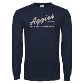 Navy Long Sleeve T Shirt-Rising Script
