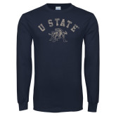 Navy Long Sleeve T Shirt-U State Arched