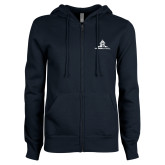 ENZA Ladies Navy Fleece Full Zip Hoodie-University Mark Stacked