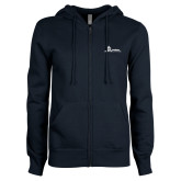 ENZA Ladies Navy Fleece Full Zip Hoodie-University Mark Horizontal