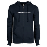 ENZA Ladies Navy Fleece Full Zip Hoodie-University Wordmark Flat