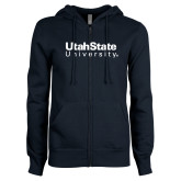 ENZA Ladies Navy Fleece Full Zip Hoodie-University Wordmark