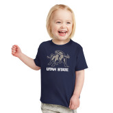 Toddler Navy T Shirt-Utah State Stacked w/  Mascot