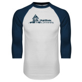 White/Navy Raglan Baseball T Shirt-University Mark Horizontal