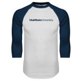 White/Navy Raglan Baseball T Shirt-University Wordmark Flat