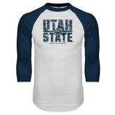 White/Navy Raglan Baseball T Shirt-Block Stacked