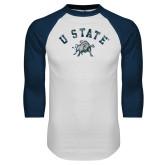White/Navy Raglan Baseball T Shirt-U State Arched