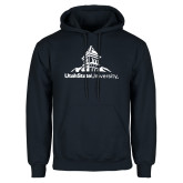 Navy Fleece Hoodie-University Mark Stacked