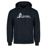 Navy Fleece Hoodie-University Mark Horizontal