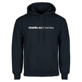 Navy Fleece Hoodie-University Wordmark Flat