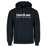 Navy Fleece Hoodie-University Wordmark