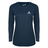 Ladies Syntrel Performance Navy Longsleeve Shirt-University Mark Stacked
