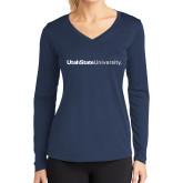 Ladies Syntrel Performance Navy Longsleeve Shirt-University Wordmark Flat