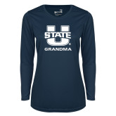 Ladies Syntrel Performance Navy Longsleeve Shirt-Grandma