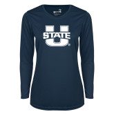 Ladies Syntrel Performance Navy Longsleeve Shirt-Primary Mark Athletics