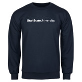 Navy Fleece Crew-University Wordmark Flat