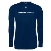 Under Armour Navy Long Sleeve Tech Tee-University Wordmark Flat