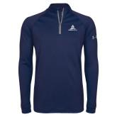 Under Armour Navy Tech 1/4 Zip Performance Shirt-University Mark Stacked