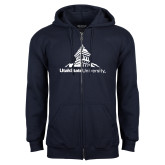 Navy Fleece Full Zip Hoodie-University Mark Stacked