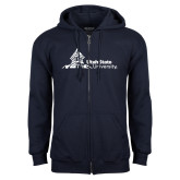 Navy Fleece Full Zip Hoodie-University Mark Horizontal