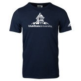Adidas Navy Logo T Shirt-University Mark Stacked