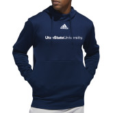 Adidas Navy Team Issue Hoodie-University Wordmark Flat