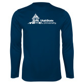 Performance Navy Longsleeve Shirt-University Mark Horizontal