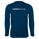Performance Navy Longsleeve Shirt-University Wordmark Flat