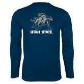 Performance Navy Longsleeve Shirt-Utah State Stacked w/  Mascot