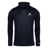 Russell Navy Heather 1/4 Zip-University Mark Stacked