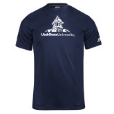 Russell Core Performance Navy Tee-University Mark Stacked
